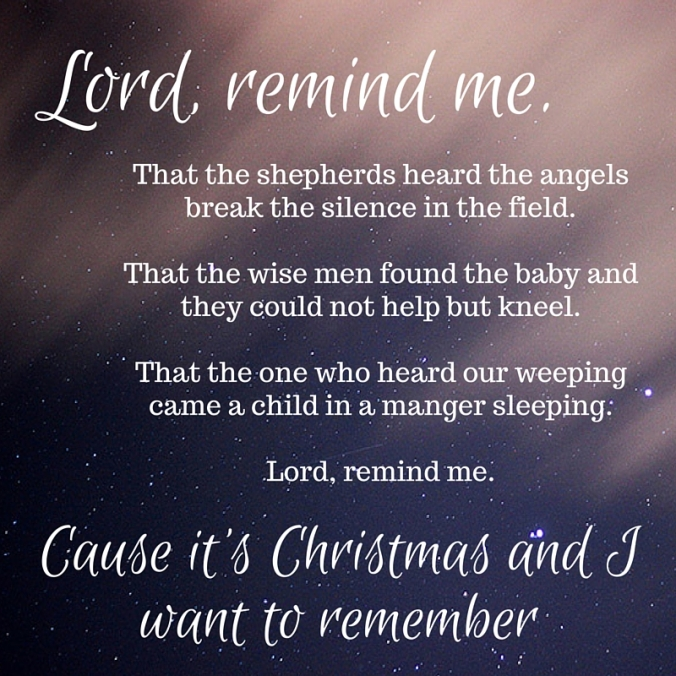 Lord, remind me.That the shepherds heard the angels break the silence in th